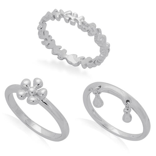 Set of 3 - LucyQ Splat and Double Drip Ring in Rhodium Plated Sterling Silver 7.82 Gms.