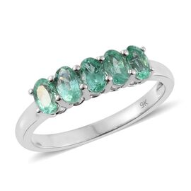 9K White Gold 1.25 Carat AA Boyaca Colombian Emerald 5 Stone Ring