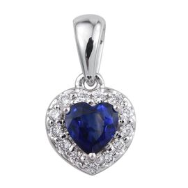 ILIANA 18K White Gold AAA Natural Blue Sapphire Heart 0.75 Carat, Diamond SI G-H Pendant 0.900 Ct.