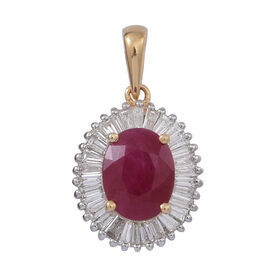 ILIANA 18K Y Gold Rare Size Burmese Ruby (Ovl 2.50 Ct), Diamond Pendant 3.000 Ct.