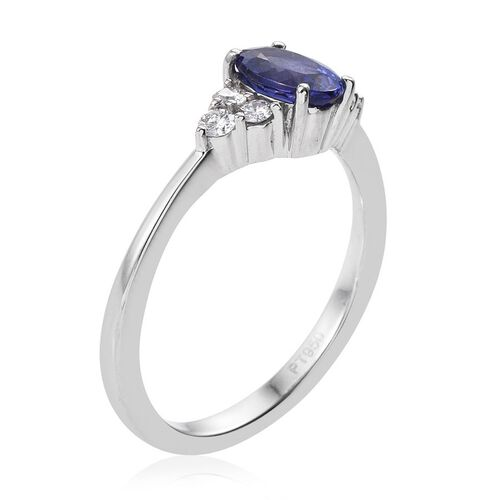 RHAPSODY 950 Platinum 1 Carat AAAA Tanzanite Oval, Diamond VS E-F Ring.