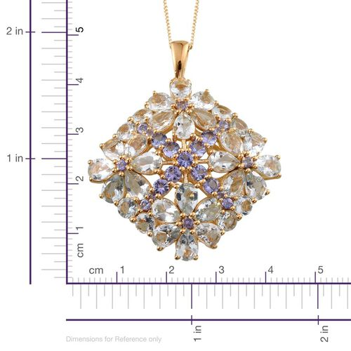 Espirito Santo Aquamarine (Pear), Tanzanite Floral Pendant With Chain in 14K Gold Overlay Sterling Silver 11.750 Ct.