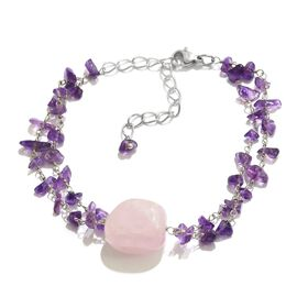 Summer Special - Rose Quartz and Amethyst Bracelet (Size 7.5 with 2 inch Extender) in Silver Tone 31.200 Ct.