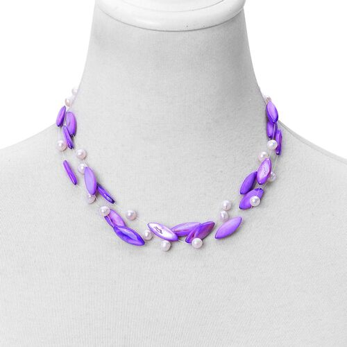 Designer Inspired-Purple Shell and Fresh Water White Pearl Triple Strand Necklace (Size 18) in Silver Tone