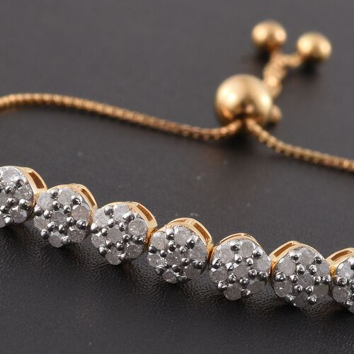 Diamond 0.57 Ct Silver Adjustable Bracelet in Gold Overlay (Size 6.5)