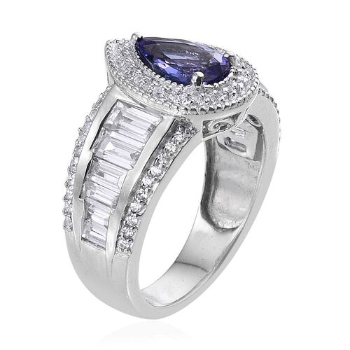 Limited Available AA Tanzanite (Pear 1.25 Ct), Natural Cambodian Zircon Ring in Platinum Overlay Sterling Silver 4.000 Ct.