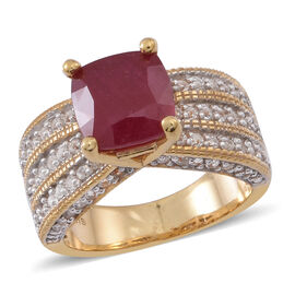 African Ruby (Cush 6.25 Ct), White Topaz Ring in 14K Gold Overlay Sterling Silver 7.500 Ct.
