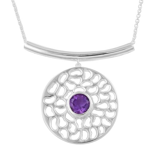 RACHEL GALLEY Lusaka Amethyst (Rnd) Solitaire Pendant With Chain (Size 20) in Sterling Silver 22.71 Gms.