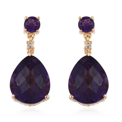 Lusaka Amethyst (Pear), White Topaz Earrings (with Push Back) in 14K Gold Overlay Sterling Silver 18.750 Ct.