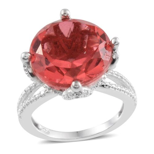 Padparadscha Colour Quartz (Rnd 11.50 Ct), Diamond Ring in Platinum Overlay Sterling Silver 11.510 Ct.