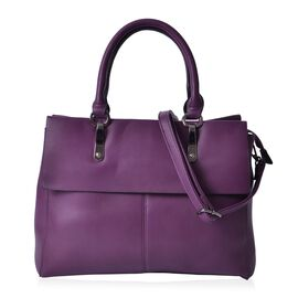 Purple Colour Tote Bag With Adjustable and Removable Shoulder Strap (Size 33.5x27x13.5 Cm)