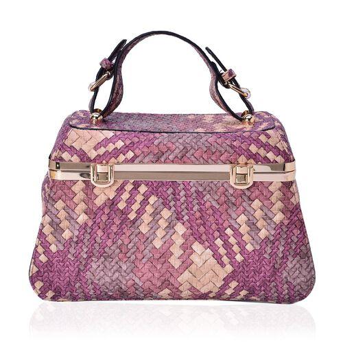Sisley Weave Pattern Fuchsia Colour Box Bag (Size 30x20x10 Cm)
