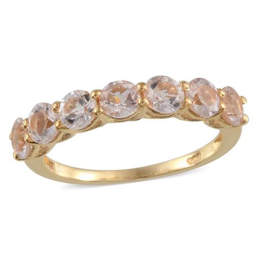 Marropino Morganite (Rnd) 7 Stone Ring in 14K Gold Overlay Sterling Silver 1.500 Ct.