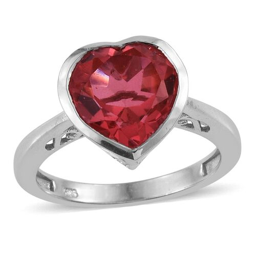 Padparadscha Quartz (Hrt) Solitaire Ring in Platinum Overlay Sterling Silver 3.500 Ct.