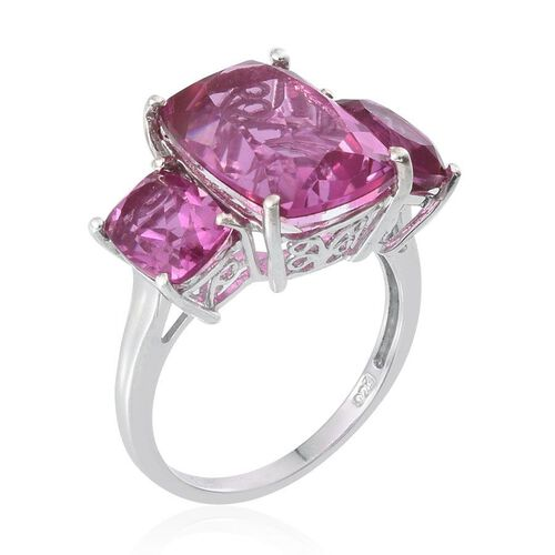 Kunzite Colour Quartz (Cush 7.25 Ct) 3 Stone Ring in Platinum Overlay Sterling Silver 10.500 Ct.