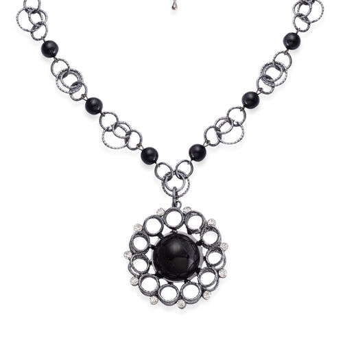 Simulated Black Pearl and White Austrian Crystal Necklace (Size 18) in Silver Tone