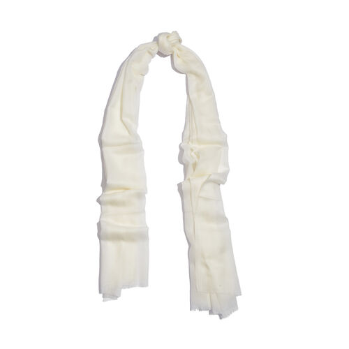 88% Merino Wool and 12% Silk White Colour Scarf (Size 200x70 Cm)