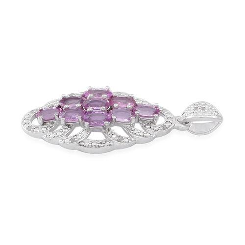 9K W Gold AAA Pink Sapphire (Ovl), Diamond Pendant 2.500 Ct. Gold Wt 4.00 Gms