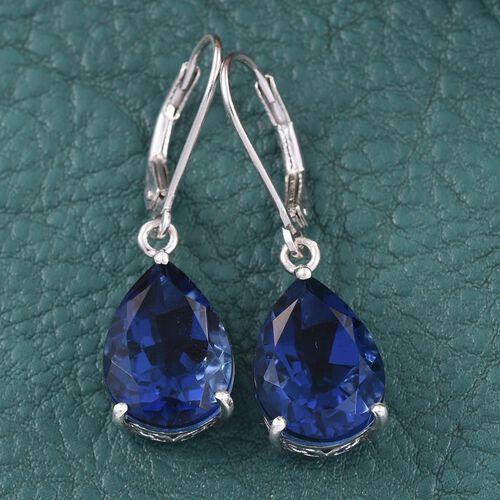 Ceylon Colour Quartz (Pear) Lever Back Earrings in Platinum Overlay Sterling Silver 11.500 Ct.