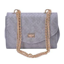 Grey Colour Diamond Pattern Handbag with Chain Strap (Size 22x15x9.5 Cm)