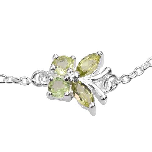 Hebei Peridot (Rnd) Adjustable Butterfly Bracelet (Size 7.5 with 1 inch Extender) in Sterling Silver 0.500 Ct.