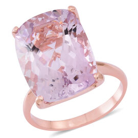 AAA Rose De France Amethyst (Cush) Ring in Rose Gold Overlay Sterling Silver 19.750 Ct.