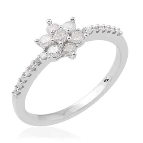 9K White Gold SGL Certified Diamond (Rnd) (I3/G-H) Floral Ring 0.500 Ct.