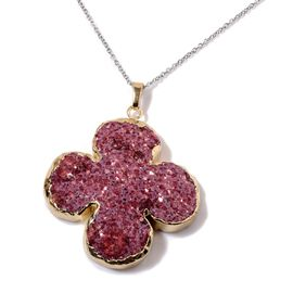 Red Agate Pendant in Gold Tone with Stainless Steel Chain 160.000 Ct.