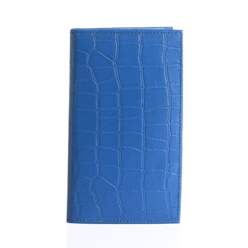 100% Genuine Leather Teal Colour Croc Embossed RFID Blocker Card Holder (Size 18.5x10.5 Cm)