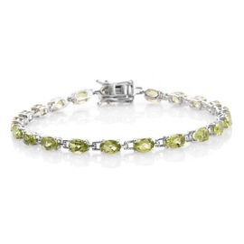 Hebei Peridot (Ovl) Bracelet (Size 7.5) in Platinum Overlay Sterling Silver 10.500 Ct.