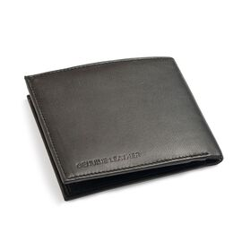 Genuine Leather Black Colour RFID Men Wallet with Card Holder (Size 12x10 Cm)