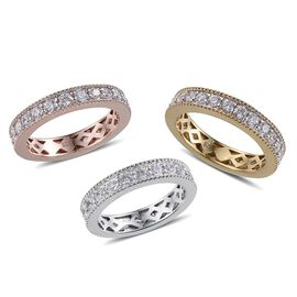 Set of 3 - Simulated Diamond (Rnd) Full Eternity Ring in 14K Gold, Rose Gold and Platinum Overlay Sterling Silver 3.750 Ct.
