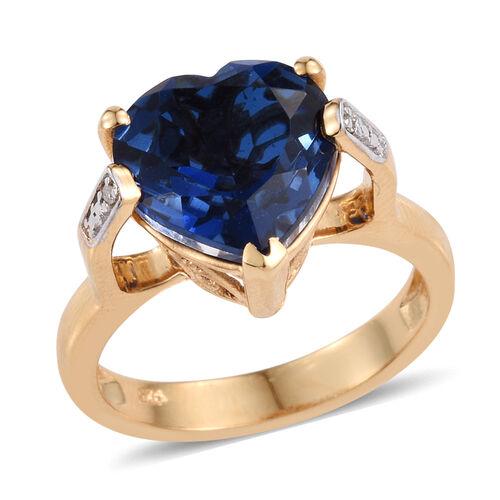Ceylon Colour Quartz (Hrt 5.75 Ct), Diamond Ring in 14K Gold Overlay Sterling Silver 5.760 Ct.