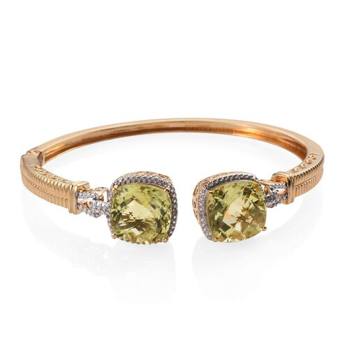 Checkerboard Cut Brazilian Green Gold Quartz (Cush), Diamond Bangle (Size 7.5) in ION Plated 18K YG Bond 20.010 Ct.