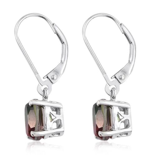 Bi-Color Tourmaline Quartz (Ovl) Lever Back Earrings in Platinum Overlay Sterling Silver 3.000 Ct.