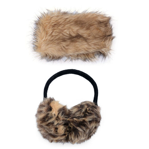 Faux Fur Brown Colour Scarf and Fluffy Earmuff