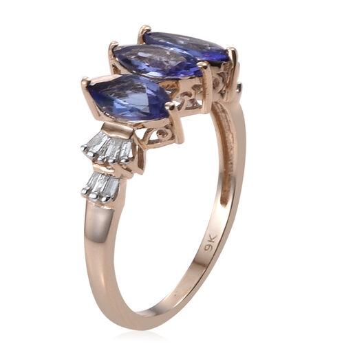 9K Y Gold Tanzanite (Mrq), Diamond Ring 1.650 Ct.