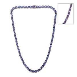 Lavender Alexite (Ovl) Necklace (Size 18) in Platinum Overlay Sterling Silver 56.000 Ct.