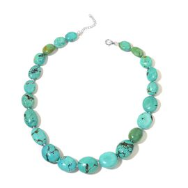 Limited Edition- Very Rare Natural Turquoise Necklace (Size 18 and 2 Inch Extender ) in Rhodium Plated Sterling Silver 540.000 Ct.