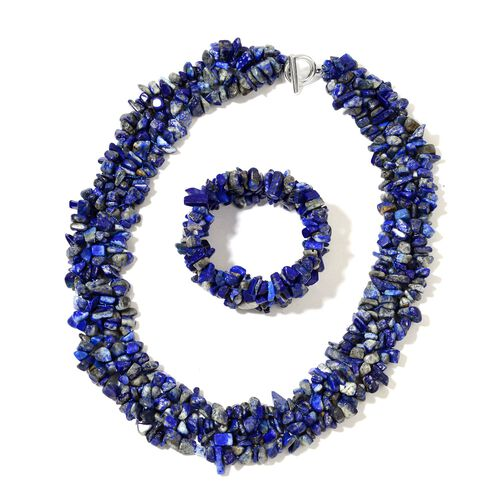 Lapis Lazuli Necklace (Size 18 with 2 inch Extender) in Silver Tone and Stretchable Bracelet (Size 7.5) 870.00 Ct.