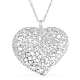 RACHEL GALLEY Sterling Silver Amore Heart Lattice Locket Necklace (Size 30), Silver wt 32.40 Gms.