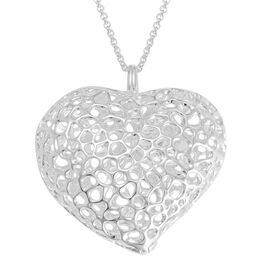 RACHEL GALLEY Sterling Silver Amore Heart Lattice Necklace (Size 30), Silver wt 32.81 Gms.