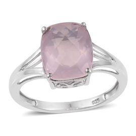 Rose Quartz (Cush) Solitaire Ring in Platinum Overlay Sterling Silver 6.000 Ct.