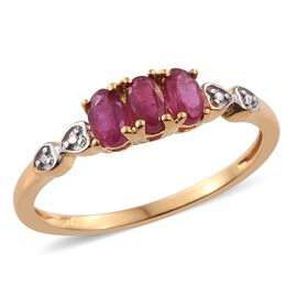 One Time Deal-African Ruby (Ovl) Trilogy Ring in 14K Gold Overlay Sterling Silver 1.000 Ct.