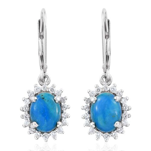 Natural Rare Opalina (Ovl), Natural Cambodian Zircon Lever Back Earrings in Platinum Overlay Sterling Silver 3.500 Ct.