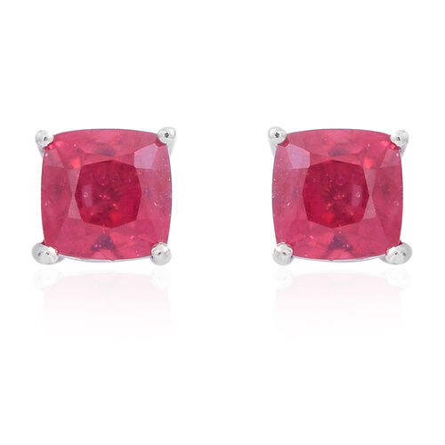 AAA African Ruby (Cush) Stud Earrings (with Push Back) in Rhodium Plated Sterling Silver 1.500 Ct.