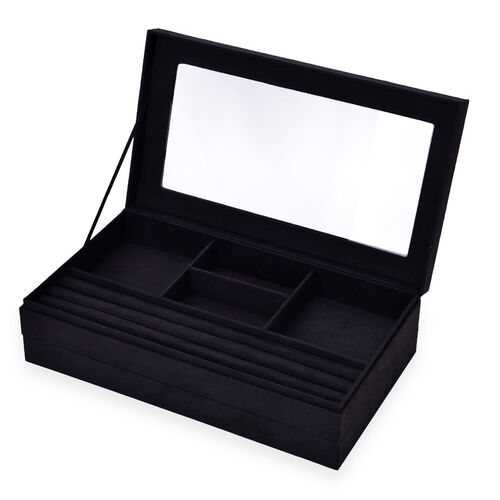 Black Colour Velvet 2 Stackes Jewelry Box with Removable 110 Ring Slots Tray (Size 37x21x10 Cm)