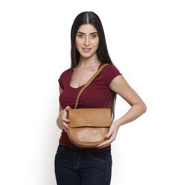 Genuine Leather Tan Colour Sling Bag (Size 20 X 22 X 5.5 CM)