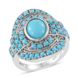 Arizona Sleeping Beauty Turquoise (Ovl 1.65 Ct) Abstract Ring in Platinum Overlay Sterling Silver 3.500 Ct.