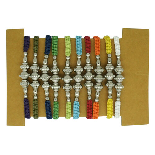 Set of 10 - Bali Collection Red. White, Orange, Dark and Light Blue, Yellow, Purple, Dark, Light and Mud Green Hand Weaved String Adjustable Bracelet (Size 6.5 to 10)